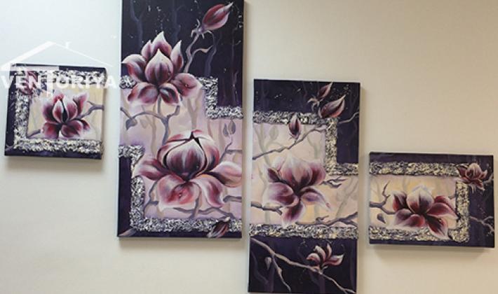 полиптих с цветя